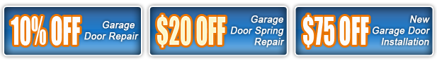 10% off garage door repair$20 off garage door spring repair, $75 off new garage door installation